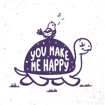 schildkroete: silhouette cartoon niedlichen und lustigen Schildkröte und Vogel mit Beispieltext. Vektor-Illustration. Karte mit glücklich Schildkröte geht mit einem Vogel Illustration