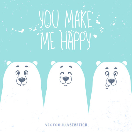 Stylish card with bears and place for text. Funny and cute three cartoon white bears