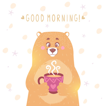 good mood: Stylish card with funny and cute cartoon bear with mug and text- good morning