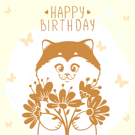 flowers cat: Beautiful silhouette cute and funny cartoon kitten with a bouquet of flowers. Happy birthday card.