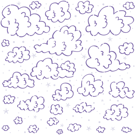 wallpaper  eps 10: Seamless pattern with doodle clouds. Vector stylish background