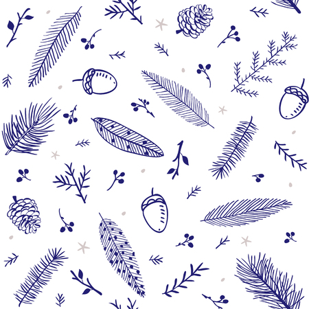 acorn tree: beautiful and simple seamless pattern with branch tree, fir, feather, pine, acorn Illustration