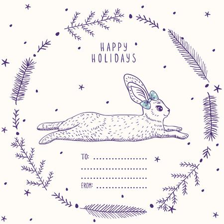 lapin silhouette: Silhouettes bande dessinée lapin mignon et drôle dans beau cadre dans le style d'esquisse. Vector illustration. Carte de vacances