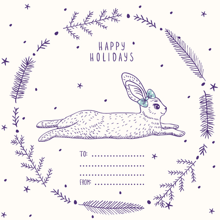 rabbit silhouette: Silhouettes cartoon cute and funny bunny in beautiful frame in sketch style. Vector illustration. Holiday card