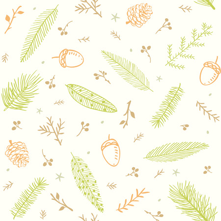 acorn: beautiful and simple seamless pattern with branch tree, fir, feather, pine, acorn Illustration
