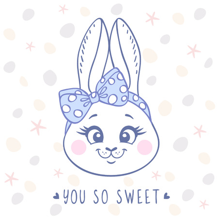 bunnies: Beautiful card with cute and sweet cartoon bunny with a bow on head. Vector illustration