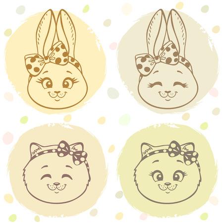silhouette lapin: Bel ensemble avec le lapin mignon de bande dessinée et doux et chaton avec un arc sur la tête. Vector illustration