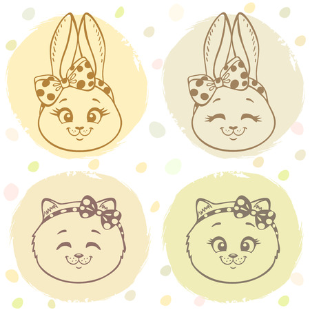 Beautiful set with cute and sweet cartoon bunny and kitten with a bow on head. Vector illustration