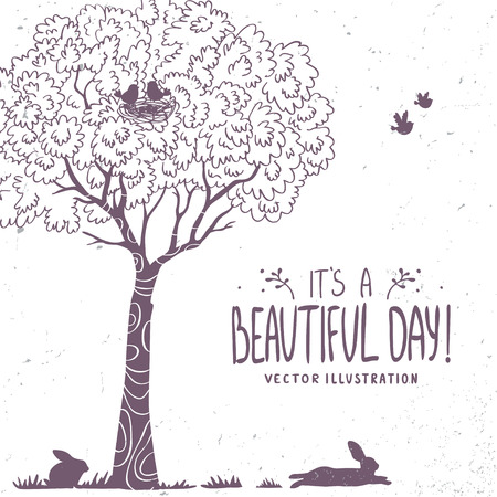 arbol p�jaros: Beautiful silhouette tree, birds and bunny. Vector illustration Vectores