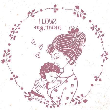Stylish card with beautiful mother and her baby in floral frame. Vector illustration