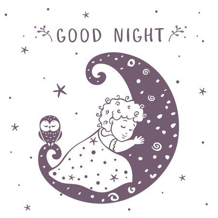moon  owl  silhouette: illustration silhouette cute baby is sleeping on the moon with owl. Vector illustration