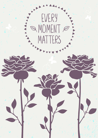 amazing wallpaper: Stylish background with beautiful silhouette roses flowers with sample text. Vector illustration