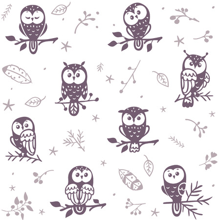 owl illustration: Beautiful seamless pattern with silhouette cute owls. Vector illustration