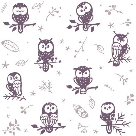 sowa: Piękny szwu z sylwetka cute owls. Ilustracji wektorowych Ilustracja