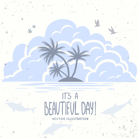 simple: beautiful and simple illustration with silhouette clouds and island with palm trees