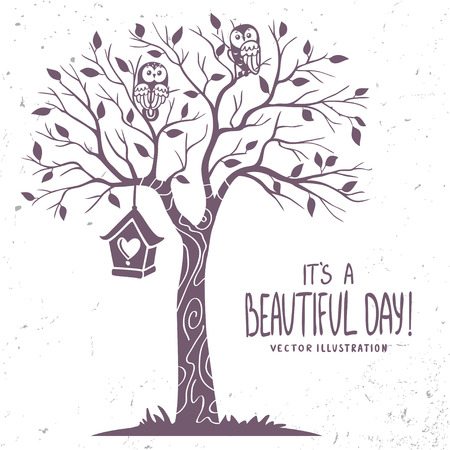 Stylish romantic card with silhouette tree and two owl and nesting box with sample text. Vector illustration Stock Illustratie