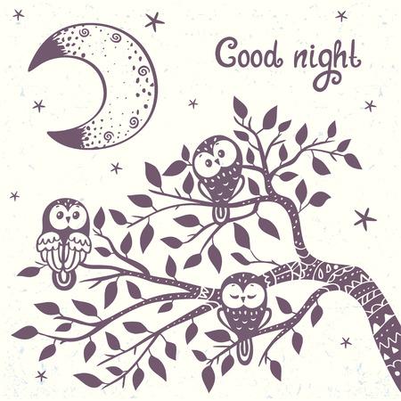 buhos: tarjeta hermosa con la silueta del b�ho lindo se sienta en rama de �rbol. Ilustraci�n con estilo del vector