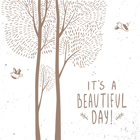 tall trees: Beautiful design stylish card with tall trees and sample text. Vector doodle illustration. Illustration