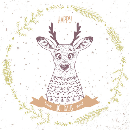 wallpaper  eps 10: Beautiful character cute and funny portret deer in sketch style. Holidays stylish poster. Vector illustration