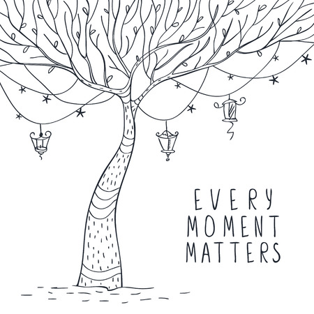 fairy silhouette: beautiful quick sketch tree with lanterns and stars and sample text. Vector illustration