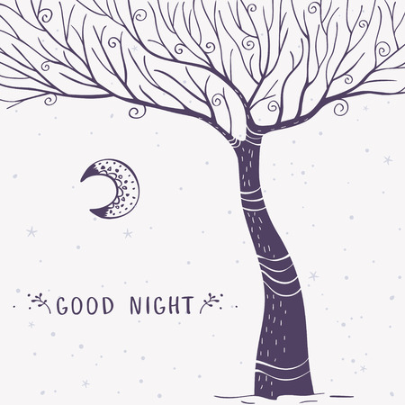 magnificent: Beautiful and stylish card with magnificent tree and sample text. Vector doodle illustration.