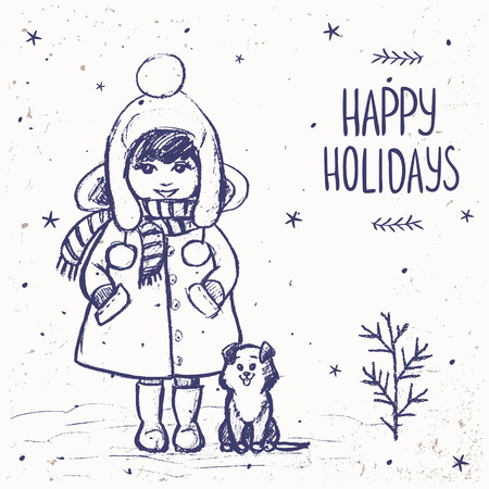 children drawing: Winter card with little girl and cute dog. Imitation painted graphite pencil at the white background, hand drawn sketch, vector illustration