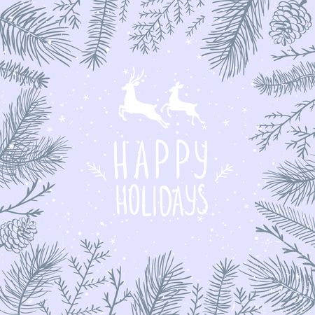 wallpaper  eps 10: Silhouettes beautiful branch tree fir, pine. Vector illustration. Holiday winter card