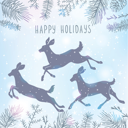 wallpaper  eps 10: Beautiful silhouette deers in jumping. Amazing winter holiday card. Vector illustration