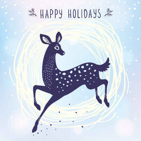 winter stylized: Amazing silhouette stylized deer doe in jumping. Cartoon fairy graceful deer. Amazing winter holiday card. Vector illustration Illustration