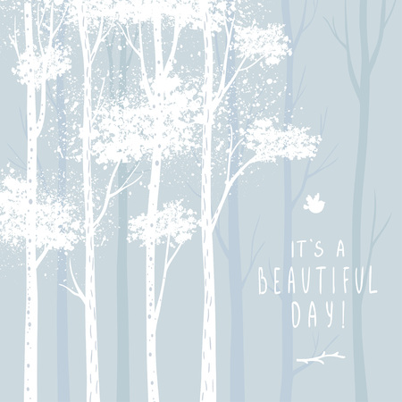 tall tree: Beautiful design stylish card with tall white trees. Vector illustration.