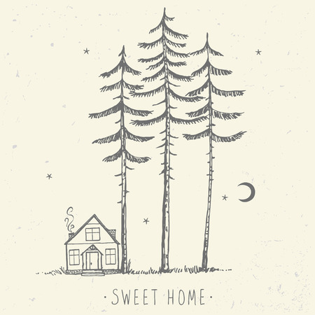 pine trees: Beautiful minimalist background of amazing tall pines and house. Hand drawn sketch. Stylish vector illustration Illustration