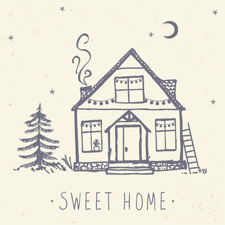 lodge: Beautiful card with beautiful house and spruce. Hand drawn sketch. Stylish vector illustration
