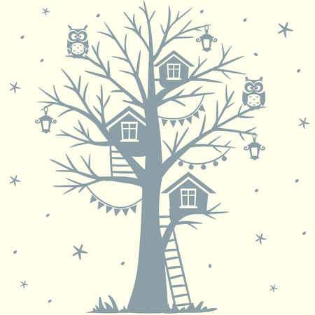 tree silhouette: silhouette fairytale tree with houses and with cartoon funny owls