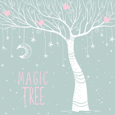 magical fairy: Beautiful card with silhouette white magic tree at night. Vector illustration Illustration