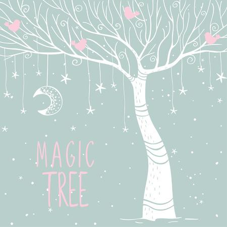 m�gica: Hermosa tarjeta con el �rbol de la magia blanca silueta en la noche. ilustraci�n vectorial