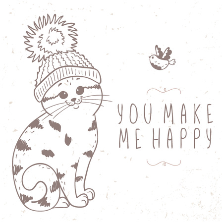 pompon: silhouette cartoon cute and funny kitten in a hat with a pompon