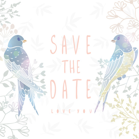 tail: Save the date card with beautiful and cute swallows sit on a flowers. Stylish design element. Vector illustration