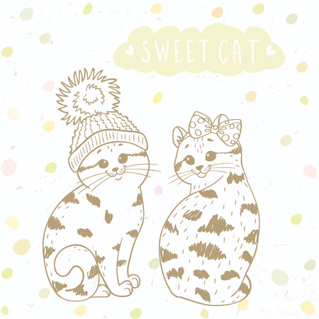 ecoration: silhouette cartoon cute and funny two kittens in a hat with a pompon and bow. Stylish vector illustration