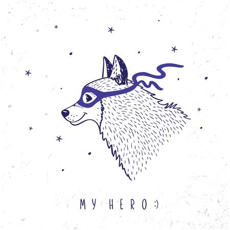 Funny cartoon cute dog husky with a mask on her face superhero. Vector illustration