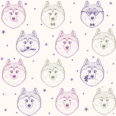 Beautiful seamless pattern background with cute and funny husky dog.