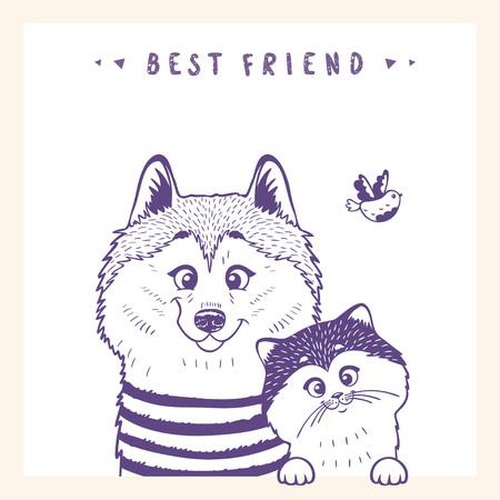 siluetas de estilo de dibujos animados lindo perro Husky y gatos y aves. Ilustración de vector