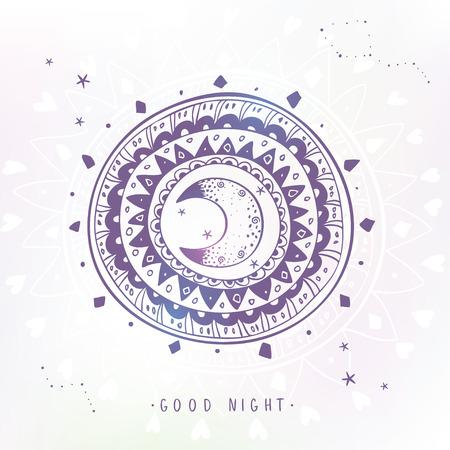 noche y luna: Ornamento elegante y hermosa estilizada étnica con la luna y la muestra de texto - buena noche. ilustración vectorial