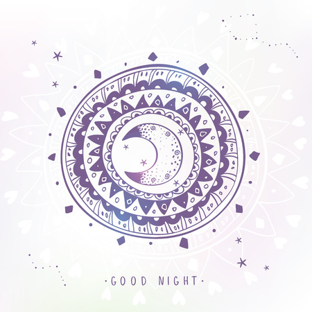 night moon: Stylish and beautiful stylized ethnic ornament with moon and sample text - good night. Vector illustration