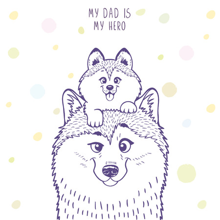 cartoon kid: Husky dad with a cute husky kid sitting on his head. Stylish silhouettes cartoon character Husky. Holiday, fathers day. Vector illustration