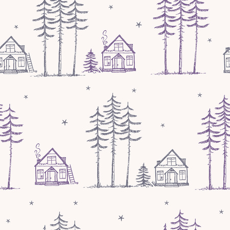 wallpaper  eps 10: Beautiful minimalist seamless pattern with amazing tall pines and house. Hand drawn sketch. Stylish vector illustration