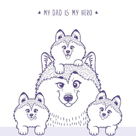dog days: Husky padre con un niño ronca lindo que se sienta en la cabeza y al lado de los pequeños perritos. siluetas elegantes personaje de dibujos animados Husky. Vacaciones, día de padres. ilustración vectorial