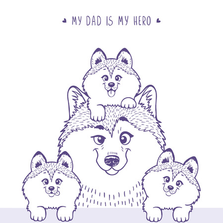 Husky dad with a cute husky kid sitting on his head and beside little puppies . Stylish silhouettes cartoon character Husky. Holiday, fathers day. Vector illustration Illustration