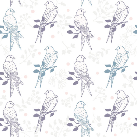 Seamless pattern with and cute swallows sit on a branch tree. illustration