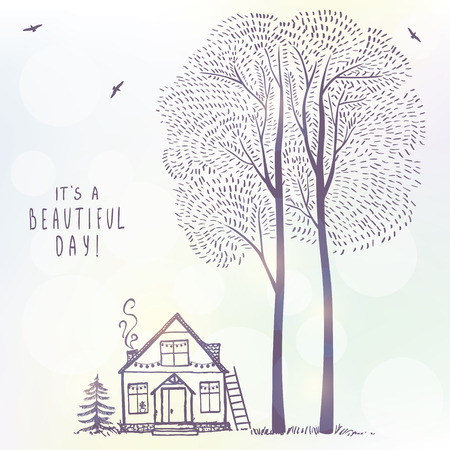 tall: background of amazing tall trees and house. sketch. Stylish illustration