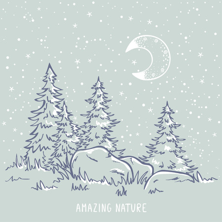sketch amazing trees at night with moon and stars. Stylish  illustration